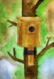 birdhouse Disegno acquerello della mano del bambino Fotografia Stock Libera da Diritti