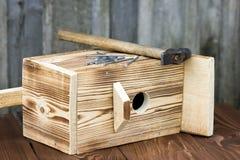 Birdhouse dla ptaków na drewnianym tle Fotografia Stock