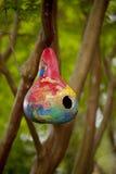 Birdhouse feito do gourd pintado Imagens de Stock