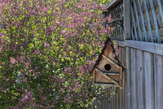 Birdhouse on a fence Royalty Free Stock Photo