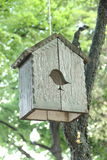 Birdhouse. Hanging on a tree stock photo