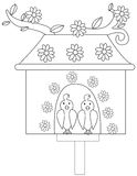 Birdhouse Illustration. Cute birdhouse illustration with floral design and with two birds chirping Royalty Free Stock Photography