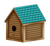 Birdhouse. Illustration of a realistic birdhouse with a turquoise shingled roof Stock Images