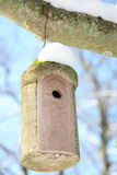Birdhouse im Winter Stockfotografie