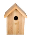 Birdhouse isolated. Frontal view. Little wood birdhouse isolated on white. Frontal view Royalty Free Stock Photography
