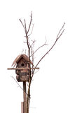 Birdhouse isolated white. Wooden old vintage rustic starling-house (bird box, birdbox, starlinghouse, nesting box) placed on branches of old dry tree and Royalty Free Stock Image
