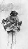 Birdhouse mężczyzna rysunek Zdjęcia Stock