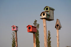 Birdhouse. The multi-color birdhouse same as the village Royalty Free Stock Images