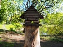 Birdhouse na drzewnym fiszorku, drewniany dozownik dla ptaków obraz royalty free