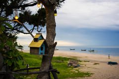 Birdhouse beside the Ocean. Photo of birdhouse beside the beach taken in Thailand Stock Photography