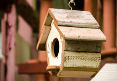 Birdhouse. An old hanging wooden birdhouse Stock Photo