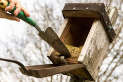 Birdhouse with old nest Royalty Free Stock Photo
