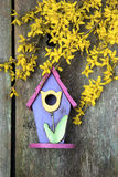 Birdhouse on old wooden fence Royalty Free Stock Images