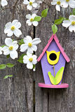 Birdhouse on old  wooden fence with dogwoods Royalty Free Stock Photos