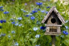 Birdhouse parmi les fleurs Photographie stock libre de droits