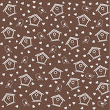 Birdhouse pattern brown Royalty Free Stock Photography