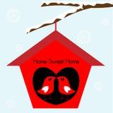 birdhouse ptaki stwarzać ognisko domowe cukierki ilustracja wektor