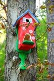 Birdhouse rosso Fotografia Stock Libera da Diritti