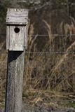 Birdhouse on a Rural Post stock images