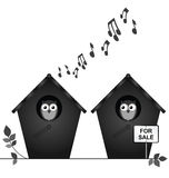 Birdhouse for sale. Monochrome birdhouse for sale isolated on white background Stock Images