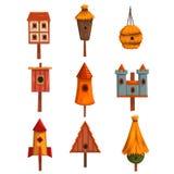 Birdhouse set, bird houses, nesting boxes cartoon vector Illustrations Royalty Free Stock Images