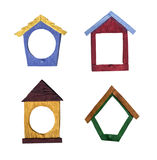 Birdhouse Shaped Wood Grain Frames Stock Images
