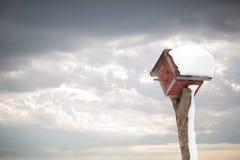 Birdhouse after a snowstorm
