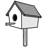 Birdhouse on a Stick Illustration Stock Image
