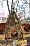 Birdhouse straw, nesting box Stock Photos
