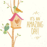 Birdhouse. Stylish card tree with birdhouse and beautiful cute two bird and place for text. simple and cute vector illustration Stock Photo
