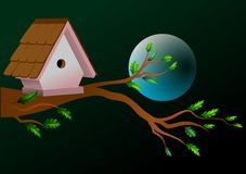 Birdhouse. On a tree branch with moon Stock Images