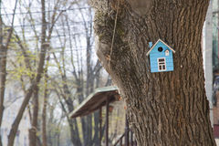 Birdhouse at the tree trunk Royalty Free Stock Photos