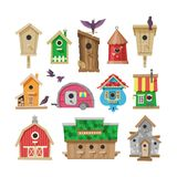 Birdhouse vector cartoon birdbox and birdie wooden house illustration set of birds singing birdsongs in decorative house. Isolated on white background Stock Photography