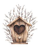 Birdhouse and willow stock illustration