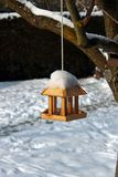 Birdhouse in winter Royalty Free Stock Images