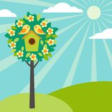 birdhouses δέντρα Στοκ Εικόνα