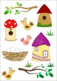 Birdhouses for birds vector illustration