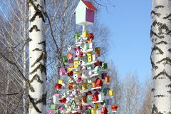 Birdhouses. Colorful birdhouse in the birch grove Stock Photography