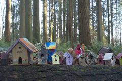 Painted birdhouses in Redwood Park in South Surrey. Birdhouses created by children of all ages sitting on a log in Fairy Tale Forest in Redwood Park, Surrey Royalty Free Stock Image