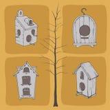 Birdhouses i drzewo Zdjęcia Stock