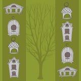Birdhouses i drzewo Fotografia Royalty Free