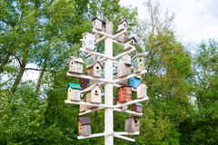 Birdhouses. Lots of birdhouses as multi-storey buildings Royalty Free Stock Photography