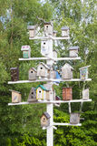 Birdhouses. Lots of birdhouses as multi-storey buildings Royalty Free Stock Images