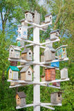Birdhouses. Lots of birdhouses as multi-storey buildings Stock Images