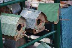 Birdhouses for sale at a market in Australia stock photos