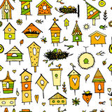 Birdhouses, seamless pattern for your design Royalty Free Stock Photos