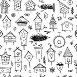 Birdhouses, seamless pattern for your design Royalty Free Stock Images
