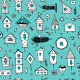 Birdhouses, seamless pattern for your design Stock Photos
