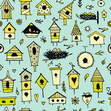 Birdhouses, seamless pattern for your design Stock Photo
