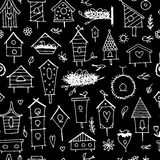 Birdhouses, seamless pattern for your design Royalty Free Stock Photography